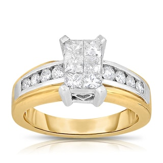 Eloquence 18k Two-tone Gold 1ct TDW Princess-cut Composite Diamond Engagement Ring (H-I, SI1-SI2)