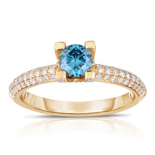 Eloquence 14k Yellow Gold 1ct TDW Blue Solitaire Diamond Engagement Ring (Blue, I1-I2)