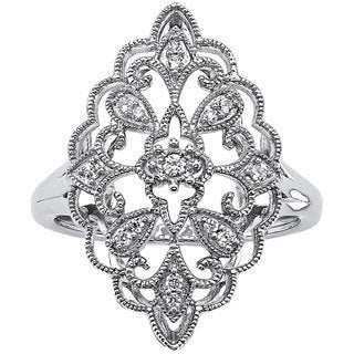 PalmBeach 1/10 TCW Round Diamond Decorative Ring in Platinum over Sterling Silver