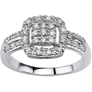 PalmBeach 10k White Gold 1/4ct TCW Round-cut Diamond Halo Ring (H-I, I2-I3)
