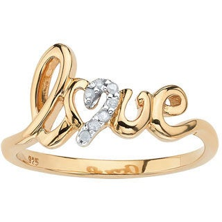PalmBeach Gold over Silver Diamond Accent Love Ring