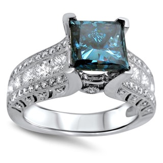 18k White Gold 3ct Blue Princess-cut Diamond Engagement Ring (F-G, SI1-SI2)