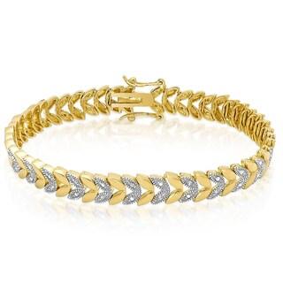 Finesque Gold over Sterling Silver 1/4ct TDW Diamond Leaf Bracelet (I-J, I2-I3)