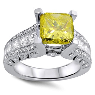 18k White Gold 3ct Canary Yellow Cushion-cut Diamond Engagement Ring (F-G, SI1-SI2)