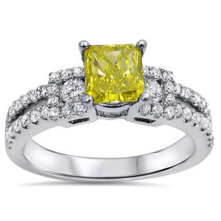 Noori 18k White Gold 1 1/3ct Radiant-cut Fancy Canary Yellow and White Diamond Engagement Ring (G-H, SI1-S