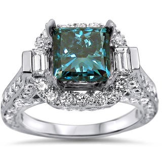 18k White Gold 3ct Blue and White Princess-cut Diamond Engagement Ring (F-G, SI1-SI2)