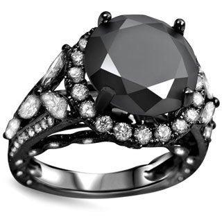 18k Black Gold 6ct Black Diamond Solitaire Halo Ring