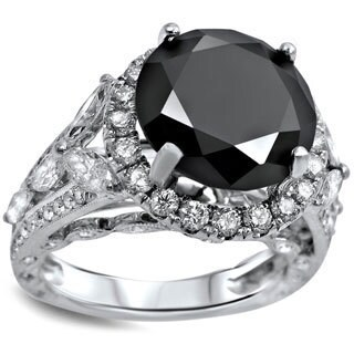 Noori 18k White Gold 6ct Black and White Diamond Halo Engagement Ring (F-G, SI1-SI2)