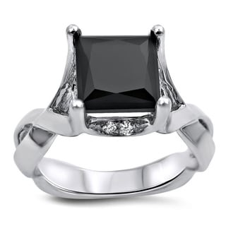 14k White Gold 2 1/6ct TDW Black Princess-cut Diamond Infinity Engagement Ring (G-H, VVSI-VVS2)