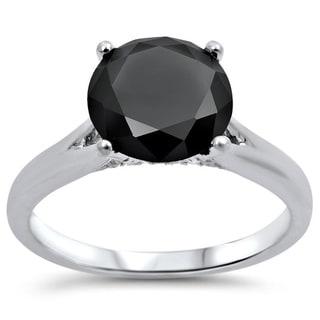 Noori 18k White Gold 2ct TDW Black Round Diamond Solitaire Engagement Ring (G-H, SI1-SI2)