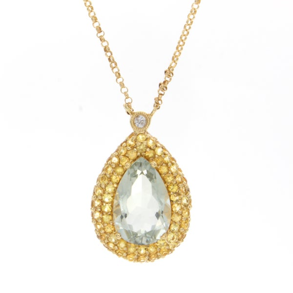 14k Yellow Gold 1/10ct TDW Gemstone Necklace (H-I, SI1-SI2)