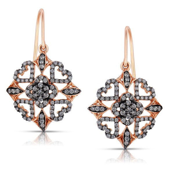Eloquence 14k Rose Gold 4/5ct TDW White Diamond Dangle Earrings (H-I, I1-I2)
