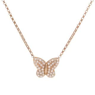 Victoria Kay 14k Rose Gold 1/6ct TDW Diamond Pave Butterfly Necklace (J-K, I2-I3)