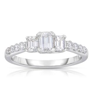 Eloquence 14k White Gold 1ct TDW 3-stone Emerald Cut Diamond Ring (H-I, VS1-VS2)