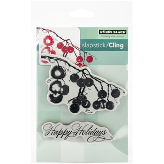 """Penny Black Cling Rubber Stamp 5""""X7.5"""" Sheet-Berry Merry Christmas"""