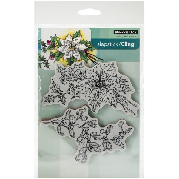 """Penny Black Cling Rubber Stamp 5""""X7.5"""" Sheet-Festive Florals"""