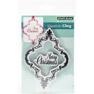 "Penny Black Cling Rubber Stamp 5""X7.5"" Sheet-Ornately Merry"