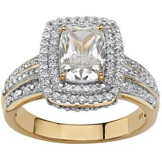 PalmBeach Gold over Silver 1 1/2ct TGW Cubic Zirconia Engagement Ring Glam CZ