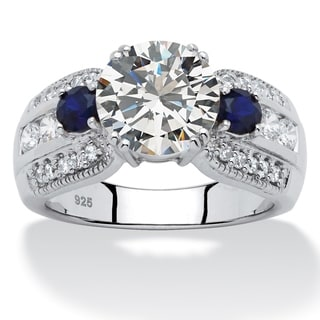 PalmBeach Platinum over Silver White and Blue Cubic Zirconia Ring Glam CZ