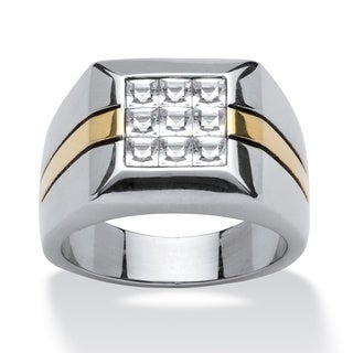 PalmBeach Men's Crystal Square Ring in Stainless Steel