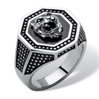 PalmBeach Stainless Steel Men's Hexagon Lion Ring