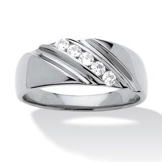 PalmBeach Platinum over Silver Men's Cubic Zirconia Beveled Wedding Band