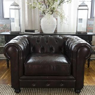 Serafina Top Grain Leather Standard Ottoman Overstock