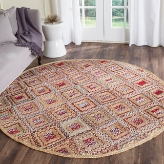 Safavieh Hand-Woven Cape Cod Natural/ Red Jute Rug (6' Round)