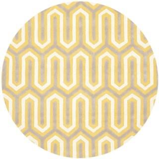Safavieh Handmade Moroccan Cambridge Gold/ Grey Wool Rug (6' Round)