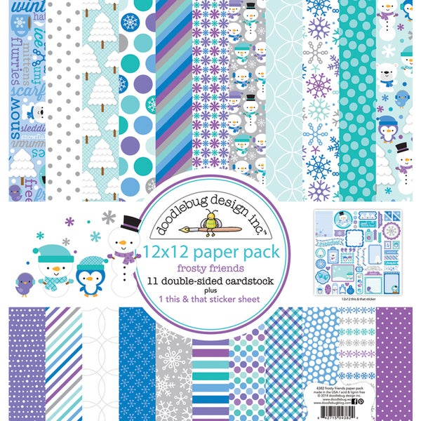 "Doodlebug Paper Pack 12""X12""-Frosty Friends"
