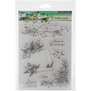 "Penny Black Clear Stamps 5""X7.5"" Sheet-Holly Scroll"