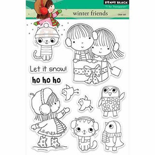 """Penny Black Clear Stamps 5""""X7.5"""" Sheet-Winter Friends"""
