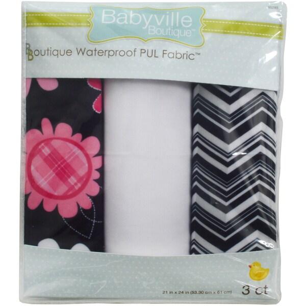 "Babyville PUL Waterproof Diaper Fabric 21""X24"" Cuts 3/Pkg-Black Chevron & Pink Floral"