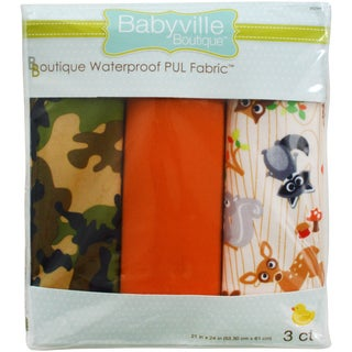 "Babyville PUL Waterproof Diaper Fabric 21""X24"" Cuts 3/Pkg-Forest Friends & Camo"