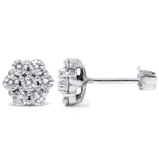 Bliss 14k White Gold 1ct TDW Flower Cluster Diamond Stud Earrings (G-H, I1-I2)