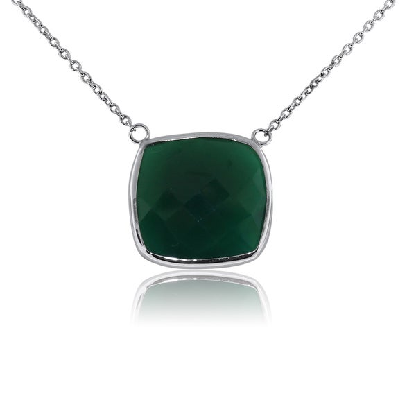 Gioelli Sterling Silver Checkerboard Green Onyx Necklace