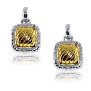 Gioelli Sterling Silver Two-tone Square Textured Earrings