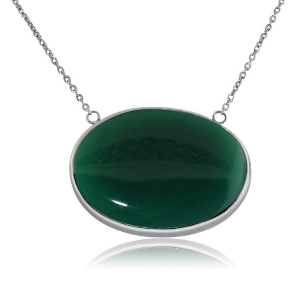 Gioelli Sterling Silver Large Green Onyx Oval Necklace
