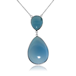 Sterling Silver Blue Chalcedony Tear Drop Pendant Necklace