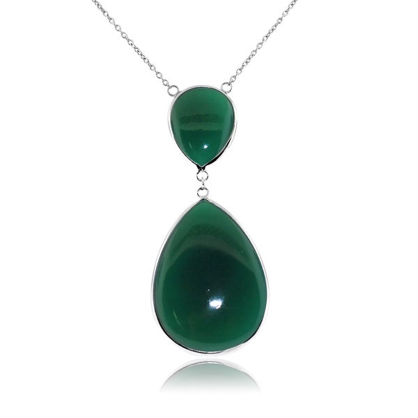 Gioelli Sterling Silver Green Onyx Tear Drop Pendant Necklace