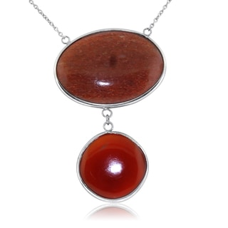 Gioelli Sterling Silver Large Oval Aventurine and Round Red Onyx Necklace