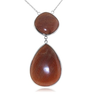 Gioelli Sterling Silver Pear and Cushion Shape Orange Aventurine Necklace