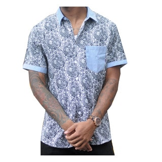 Oxymoron Clothing Men's Cotton Printed Shirt with Contrast Pocket