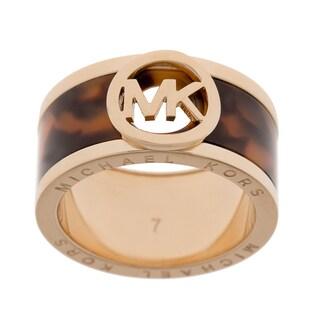 Michael Kors 'Fulton' Tortoise/ Goldtone Cigar Band Ring