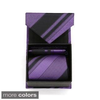 Ferrecci Striped Neck Tie and Hanky Boxed Set