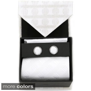 Ferrecci Polka-dotted Neck Tie, Cufflinks and Hanky Boxed Set