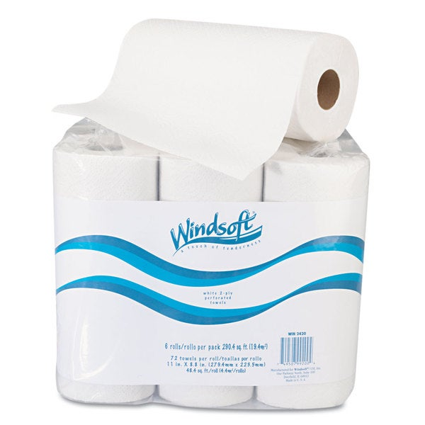 Windsoft Paper Towel Roll/ 11-inch x 88-inch/ White (Roll of 72/ Pack of 6 Rolls)
