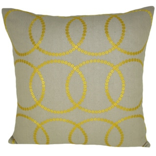 Bindi Yellow Feather Filled Embroidered Circles 20-inch Throw Pillow