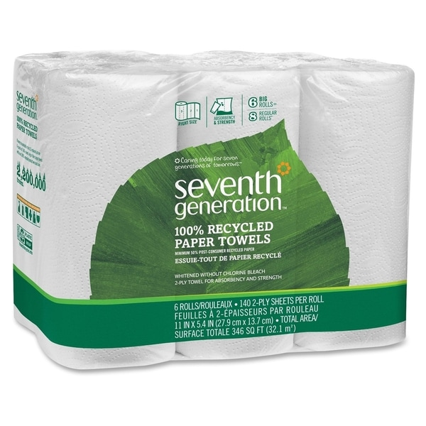 Seventh Generation 100-percent Recycled Paper Towel Rolls/ 140 Sheets/Roll/ White (Pack of 6)