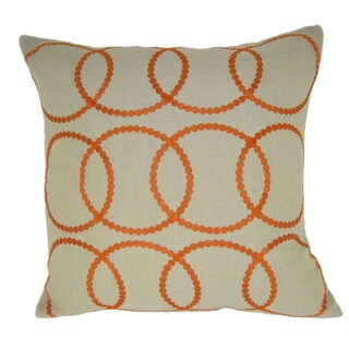 Bindi Orange Feather Filled Embroidered Circle 20-inch Throw Pillow